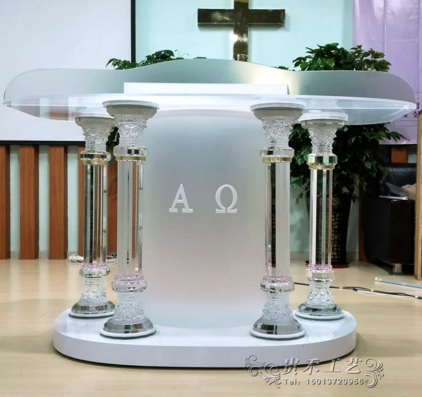 Speaker Podium Church Pulpit Decorations Crystal Column Podium Standard Podium Size 120*55*120 CM