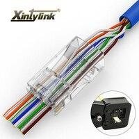Xintylink 50 adet EZ rj45 konektörü rj45 fişi cat5e cat6 ağ konektörü erkek utp 8P8C korumasız modüler terminalleri delik var