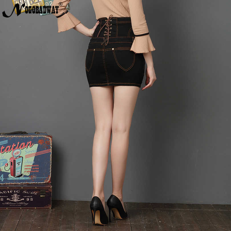 59376def78 ... High Waist Stretch Short Denim Skirt Women White Black Sexy Pencil  Skinny Mini Jeans Skirts Button