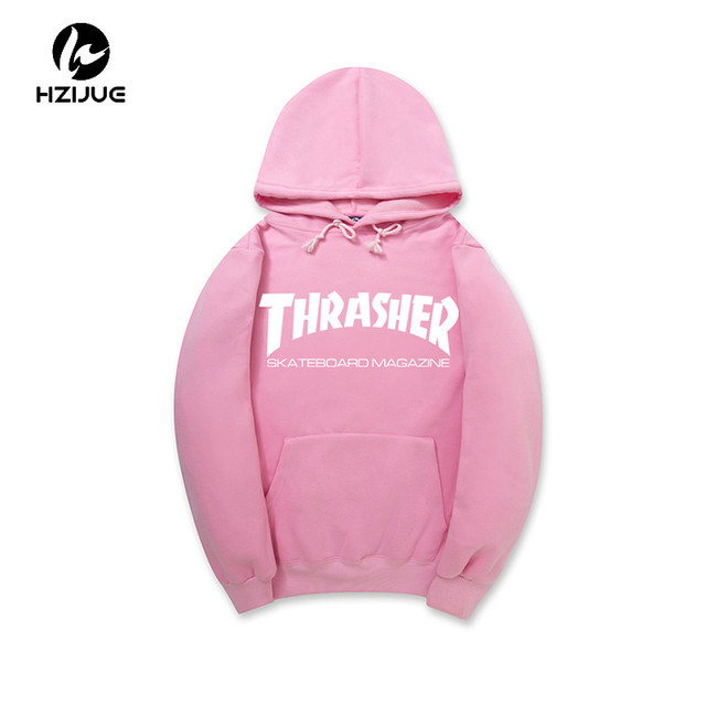 2017  HZIJUE SPRING Fleece Skateboard Thrasher Sweatshirt Men Hoodies Women Streetwear Tracksuit Hooded Trasher Mens Hoodies