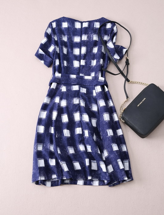 da31c3793c5 Designer Women Linen Dresses Blue White Plaid Empire V neck Short Sleeve  with Cotton Lining Sashes Breathable Comfortable -in Dresses from Women s  Clothing ...