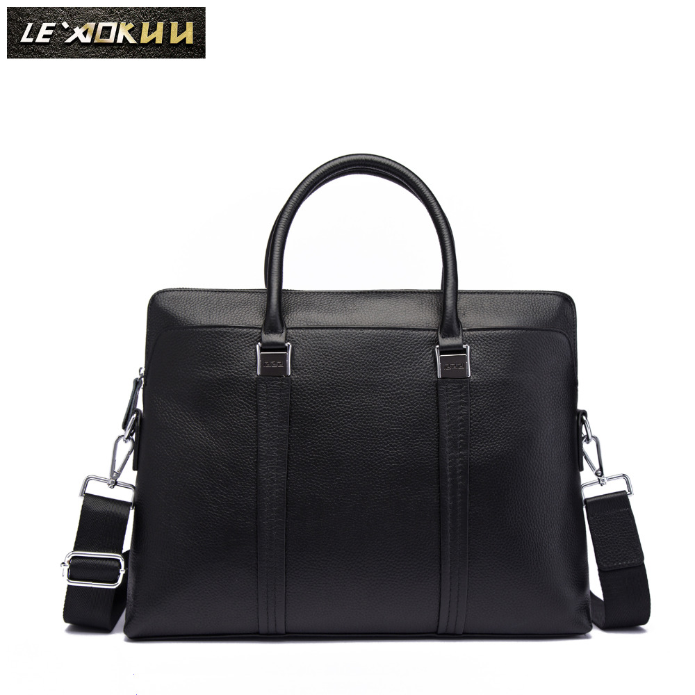 Men Genuine Leather Black Designer Business Briefcase Fashion 16