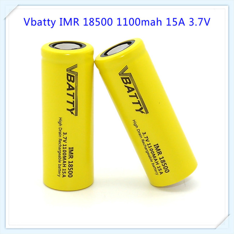 1pc Vbatty 3.7V 1100mAh IMR18500 Rechargeable Battery High capacity Li-ion Lithium Battery for LED Flashlight Headlamp