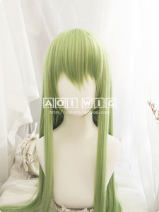 Image 4 - FGO גורל גרנד סדר Enkidu פאה ירוק 90cm ארוך ישר קוספליי סינטטי שיער למבוגרים Enkidu פאה