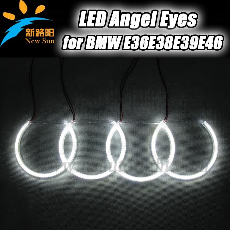 ФОТО Hot selling 4*131mm e36 angel eyes lighting led SMD 3014 led angel eyes ring E46 E38 E39 with projector