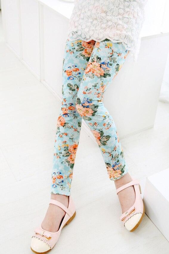 hottest seller 2016 autumn girl blue pink beige rose flower leggings kids leggins baby sweet floral tights Лосины