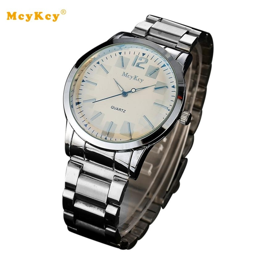 McyKcy men watches 2017 top brand luxury famous Stainless Steel Analog Quartz Wrist Watch Reloj hombre cheap wristwatch #YH migeer fashion man stainless steel analog quartz wrist watch men sports watches reloj de hombre 2017 20 gift
