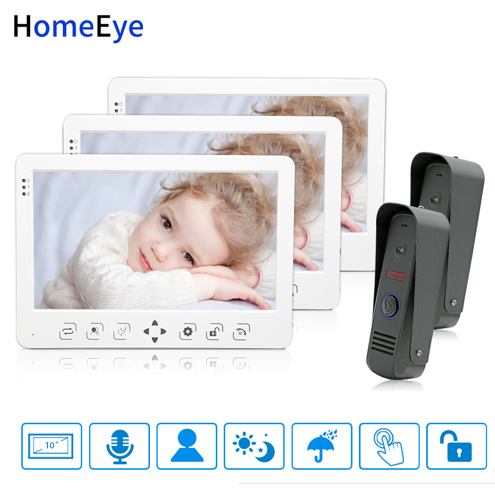 HomeEye 10'' Video Door Phone Video Intercom Doorbell 2-3 Home Access System Voice Message Spanish Menu Video Record Unlock Door