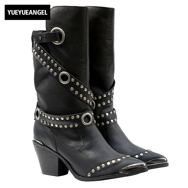 Punk Style Genuine Leather Boots Women Winter Rivet Thick Heels Belt Buckle Pointed Toe Knight Half Boots Female Black 34-40 handmade quality custom sexy charm contracted style leather side zippers rivet women s knight boots