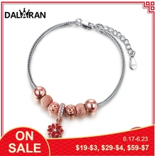 DALARAN Featured Brand Murano Rose Gold Beads Charm Bracelets & Bangles 925 Sterling Silver For Women Personality Luxury Jewelry