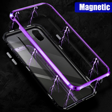 Magnetic Adsorption Metal Bumper,Case For iPhone X 8 7 Plus With Back Glass Cover Built-in Magnets Frame Bumper