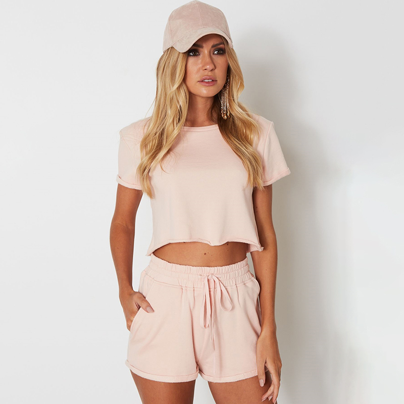 2019 Whatiwear Summer Women Set Two Piece Set Fashion Top And Pants Crop Top Moletom Feminino Ensemble Drawstring S1881