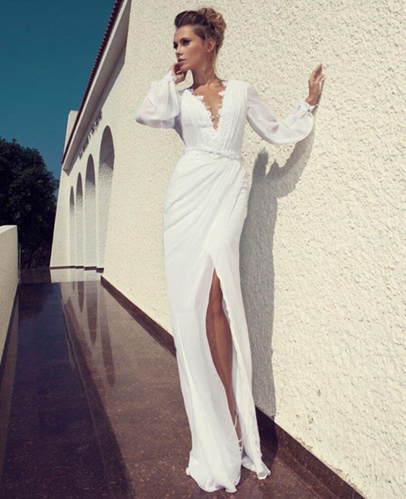 2017 chiffon long puff sleeve wedding dress high low sexy for Long sleeve high low wedding dresses