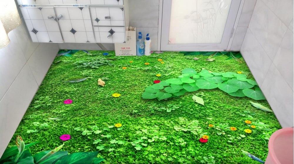 ФОТО 3d stereoscopic floor wallpaper waterproof 3d floor stickers custom green meadow wallpaper photo 3d flooring