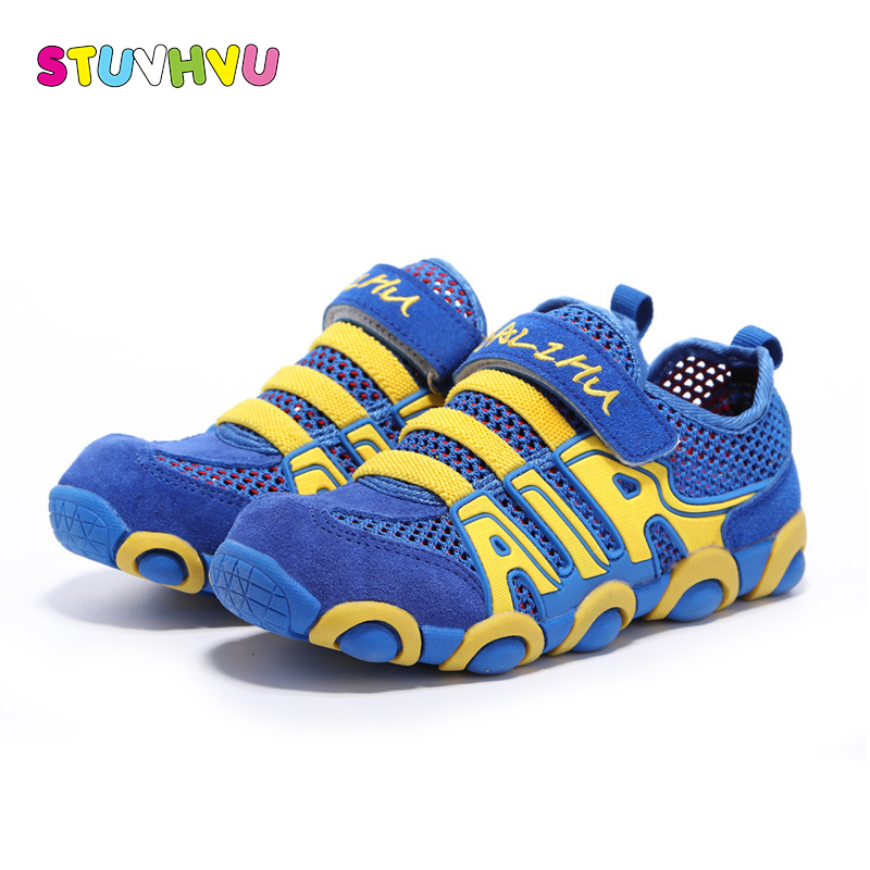 2018 New sport shoes for children casual shoes Genuine Leather summer breathable single-web boys girls school running shoes tide