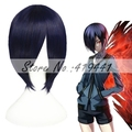 Free Shipping 32cm Short Straight Tokyo Ghoul Cosplay Touka Dark Blue Wig Anime Cosplay Hair Wig