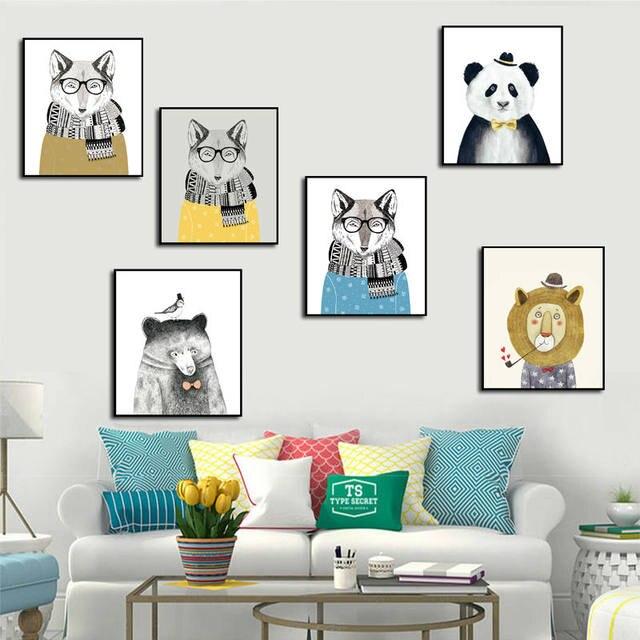 Online Shop Animals Canvas Art Print Painting Poster Panda Fox ...