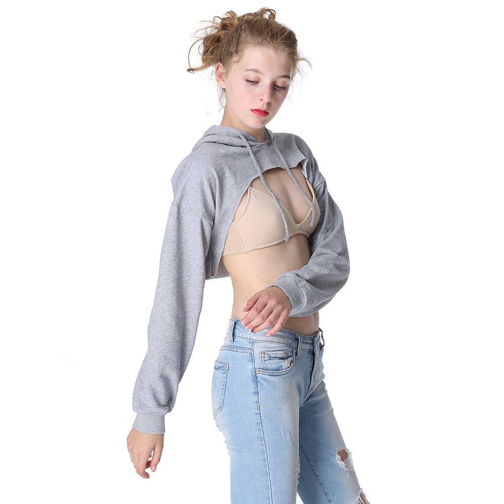 Европа и США Новый сексуальный с открытой грудью ультра короткая толстовка с капюшоном для женщин хлопок пупочной рубашки многоцветный