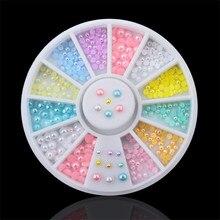 цена на DIY nail art decorations Wheel 2mm 3mm mix Color pearls Nail Glitter Nail Rhinestones Nail Wheel Nail Tools