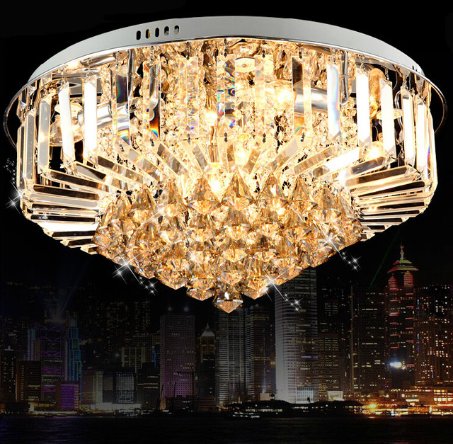 Modern 30w crystal chandelier ceiling fixtures flush mount e14 modern 30w crystal chandelier ceiling fixtures flush mount e14 halogen bulbs chandeliers crystal ac220v 40 mozeypictures Choice Image