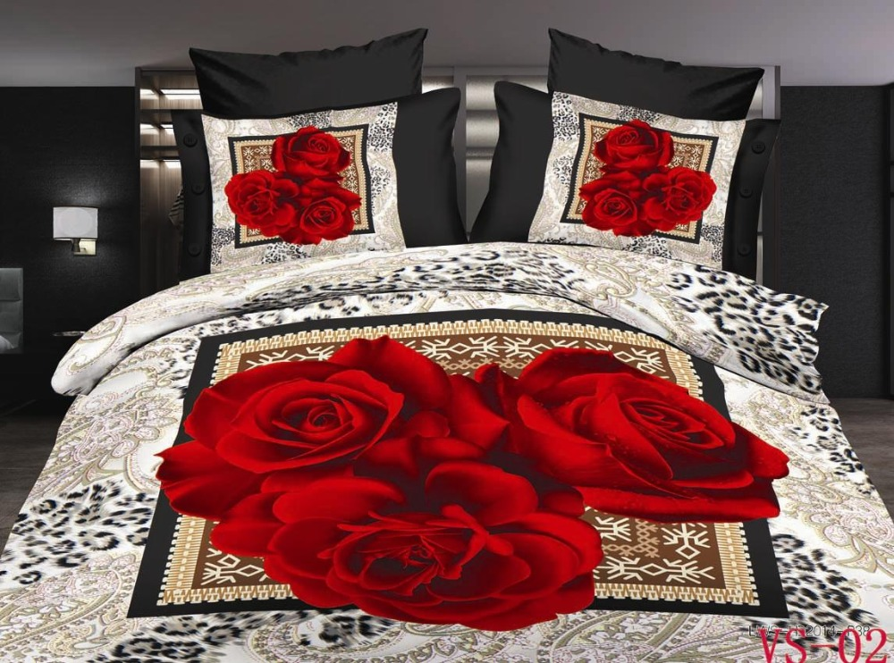 Vintage rose bedding set red yellow purple duvet cover for Lit queen size taille