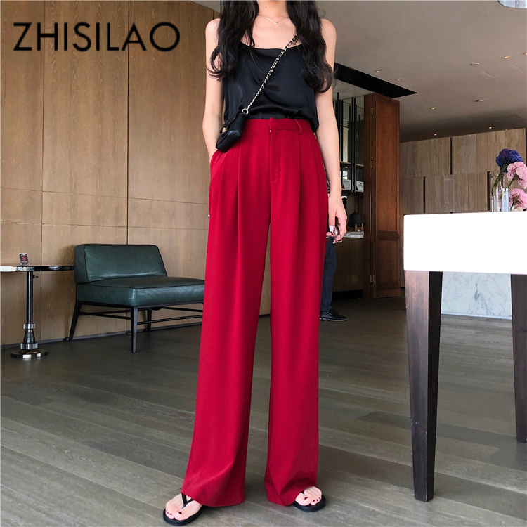 Red Straight   Pants   Vintage Street High Waist   Pants   Women Solid Black Trousers Plus Size 2019 Maxi Chic Loose   Wide     Leg     Pants