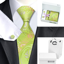 Ties For Men Green Pink Paisley Silk Necktie Hanky Cufflinks Gift Box Bag Sets Business Wedding Party Supplies Mens Tie B-411
