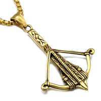 HIP Hop Gold Plated Stainless Steel Bow Arrow Crossbow Pendants Necklaces For Men Jewelry