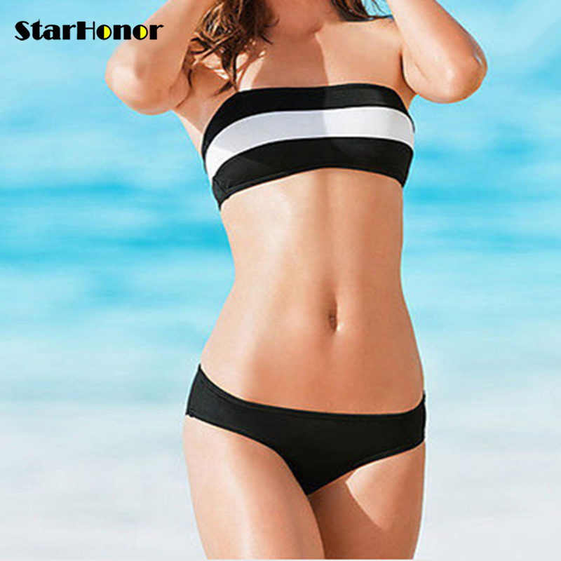 StarHonor  Sexy Woman Patchwork Swimsuit Bandage Biquini Two-piece Bikinis Set Beach Dress Striped Push Up Bathing Suit Swimwear starhonor 2017 sexy woman print one piece suits swimwear retro halter swimsuit bandage biquini bikinis set push up bathing suit