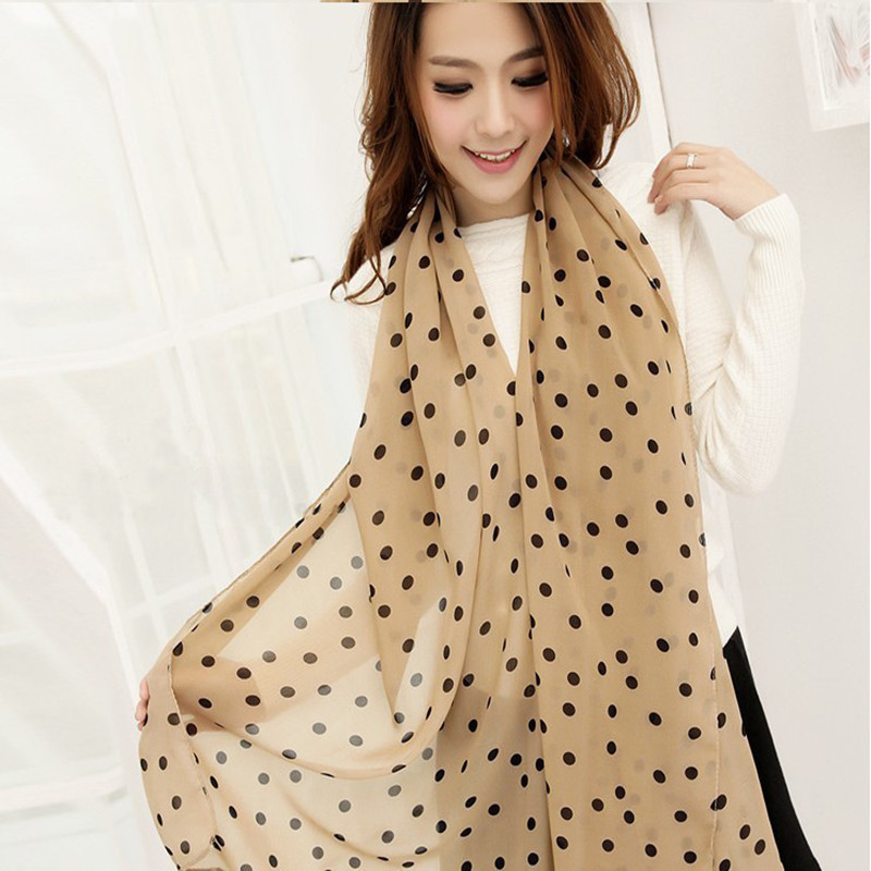 Fall Winter Fashion Capes Women Ladies Polka Dots Spot Chiffon Soft Shawl   Scarf   Neck   Wrap   Headscarf Head   Scarf   Hijabs