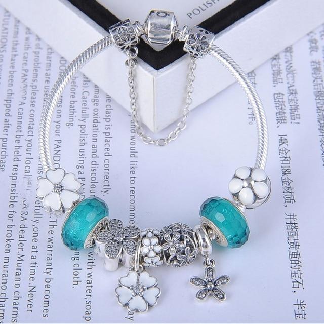 Ослепительная Подарок белый примроуз прелести bracelete feminino pandora браслет серебряный европейский цветы шарм DIY ювелирных оригинальный