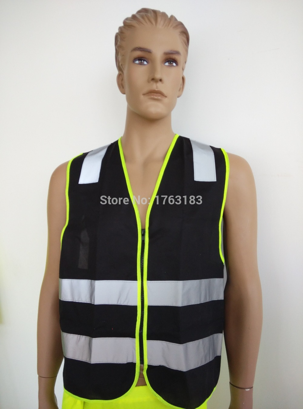 Black High Visibility Reflective Safety Vest Polyester Dark Night Working fluorescence yellow high visibility