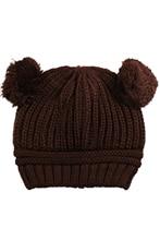 JEYL 2X Korean Baby Love Dual Ball Wool knit sweater Cap Winter Hat – Coffee