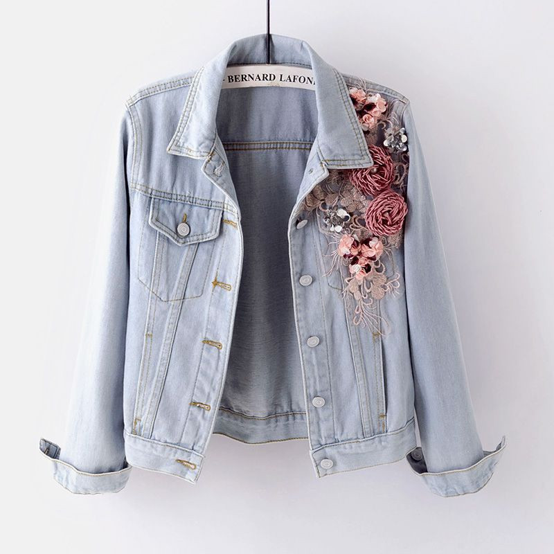 Short  Woemn Jackets 2018 Autumn New 3D Flower Beaded Sequined Single-breasted Denim Jackets Luxury Long-sleeved Coats