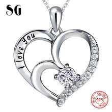 100% 925 sterling silver love heart shape I love you chain pendant&necklace with CZ diy fashion jewelry making for lover gifts genuine sterling silver 925 love heart mom hug kid necklace in jewelry pendant necklace with cz chain fashion jewelry for mother