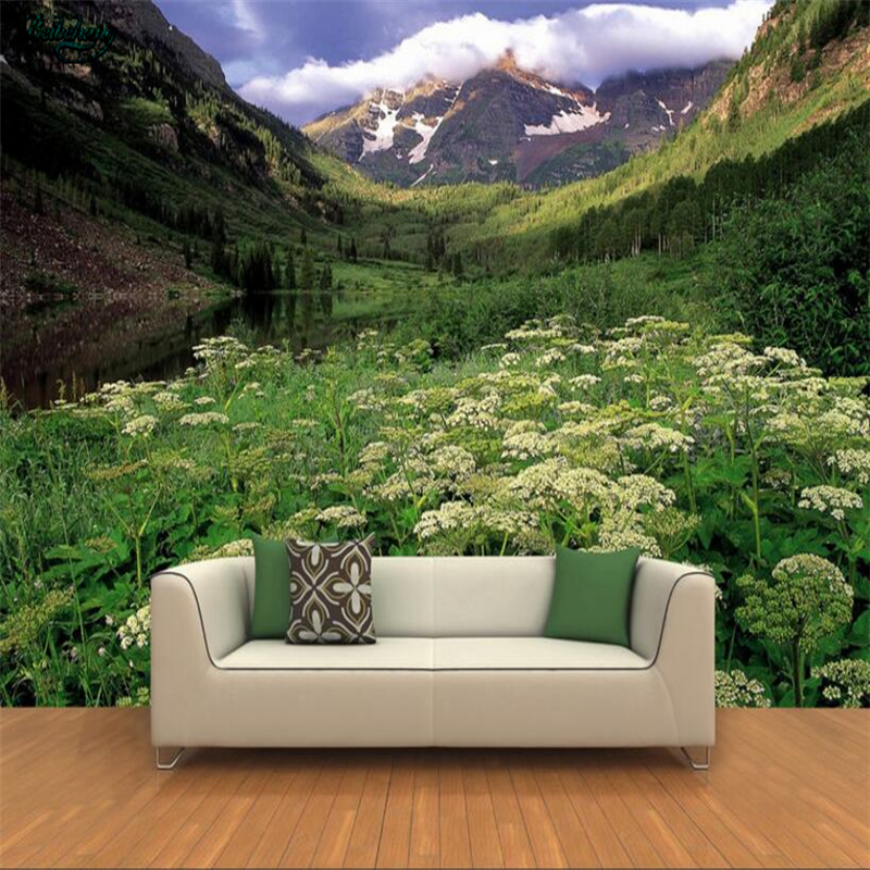 beibehang Large scale custom wallpaper 3D HD landscape between the mountains of white wildflowers backdrop decoration-in Wallpapers from Home Improvement on ...