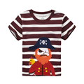Boy T-shirt For 1-6 Years Children Baby Summer Clothes Full Cotton Short Sleeve T-shirt Brown and White Stripe T shirt Boy Suits
