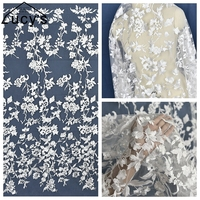 1 Yard Off white color wedding gowns lace material Tulle mesh embroidery dress lace fabric 2018 NEW good quality real pictures