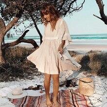 TEELYNN, хлопковые и льняные мини платья туники, богемное однотонное платье с круглым вырезом, свободные короткие летние платья, Пляжное Цыганское Платье для женщин, vestidos