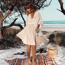 Teelynn algodão & linho túnica mini vestidos boho vestido sólido o pescoço solto curto vestidos de verão praia cigana vestido feminino