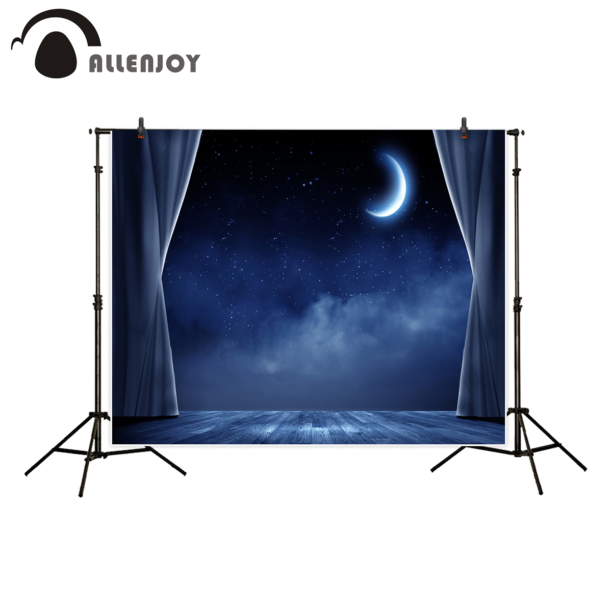 Allenjoy photography backdrop Gorgeous blue stars night sky moon clouds stage curtains background for photo studio fotografica newborn photography background blue sky white clouds photo backdrop vinyl balloons scattered petals backgrounds for photo studio