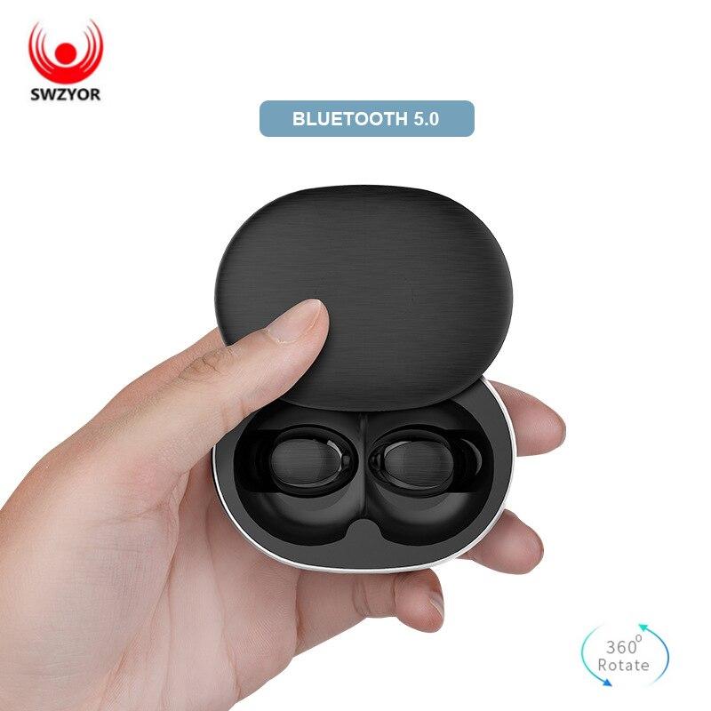 SWZYOR B20 Bluetooth 5,0 TWS inalámbrica auricular 3D auriculares estéreo Bluetooth Touch Control Hifi Bass Mini auriculares con micrófono Dual