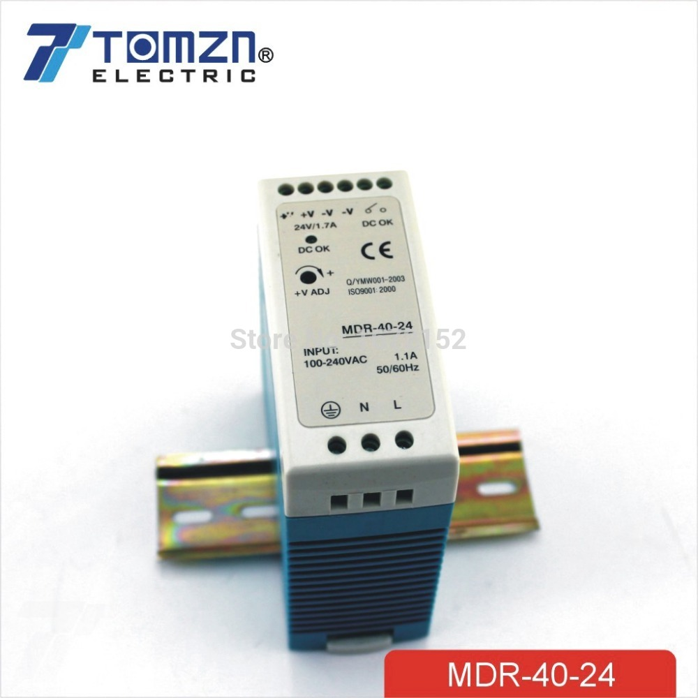 40W 24V MINI Din Rail Single Output Switching power supply 24v 1 7a 40w ce approved mini din rail single output switching power supply mdr 40 24