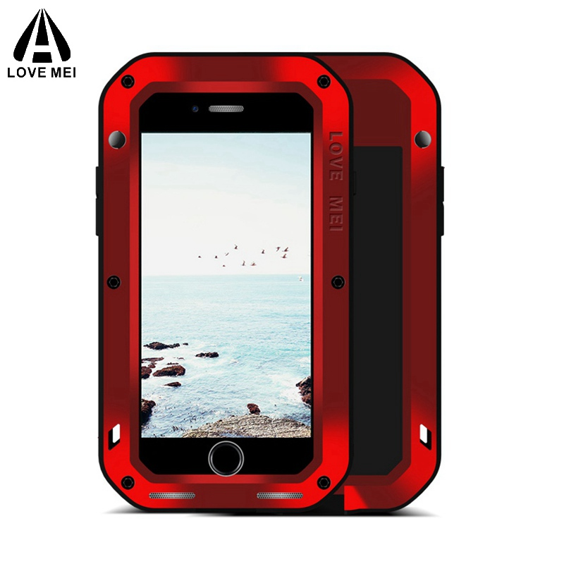 Love mei Aluminum Metal Cover For iphone 8 Cases Armor Shockproof Gorilla Glass Full Body Phone