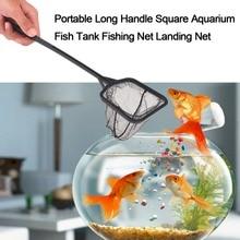 3 Sizes Portable Long Handle Square Aquarium Fish Tank Fishing Net Landing Net for Fish 35/41/56cm Drop Shipping