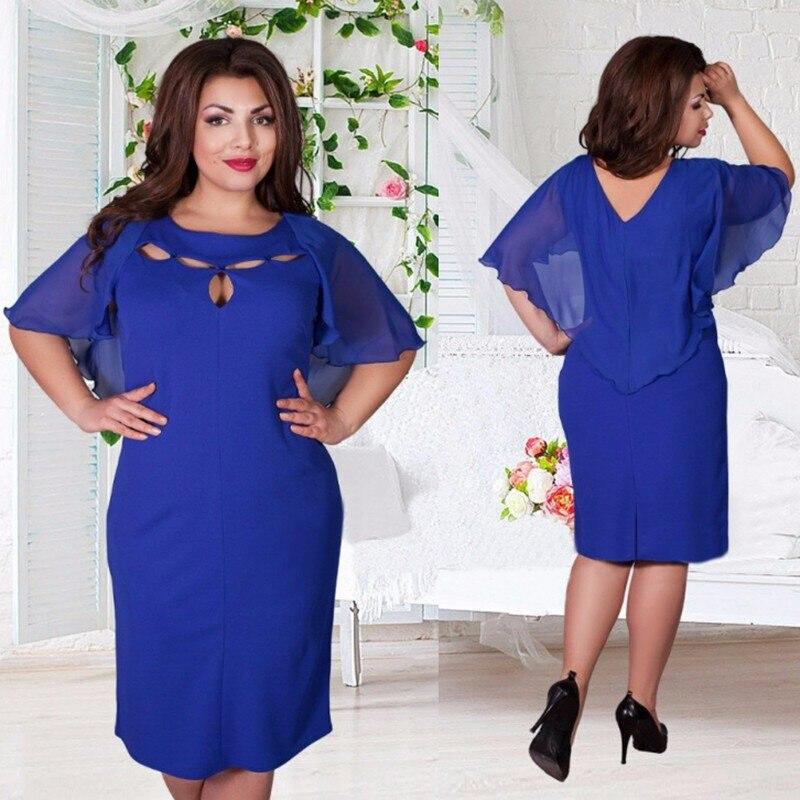 Plus Size 6XL Women Summer Dress Hollow Back V-neck Ruffles Ladies Vestidos Women Elegant Short Sleeve Girls Dress P30