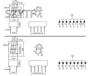 Image 2 - 100 pièces 4bit Anode commune Tube numérique positif 0.36 po. Rouge LED Chiffres 7 Segments 3461AS