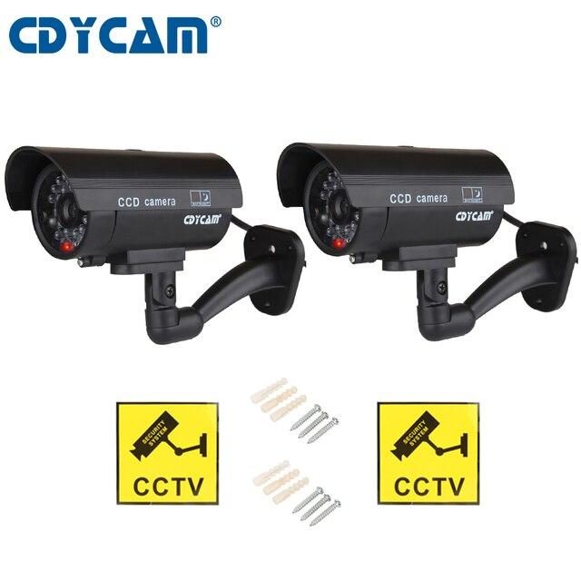2pcs(1 bag) Fake Dummy Camera  CCTV Surveillance Camera Shop Home Security With LED Light Fake Camera Waterproof Outdoor Camera