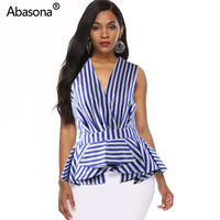 2019 New Fashion Stripes Printed Deep V neck Sleeveless Ruffles Splicing Blouses & Shirts Vintage Office Lady Top From China