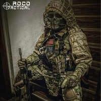 ROCOTACTICAL Military Sniper Ghillie Viper Haube Kampf Ghillie Anzug Foundation Nach Ghillie Haube Jacke Camouflage Woodland